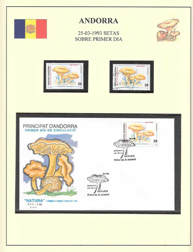 serie y sobre sellos Andorra
