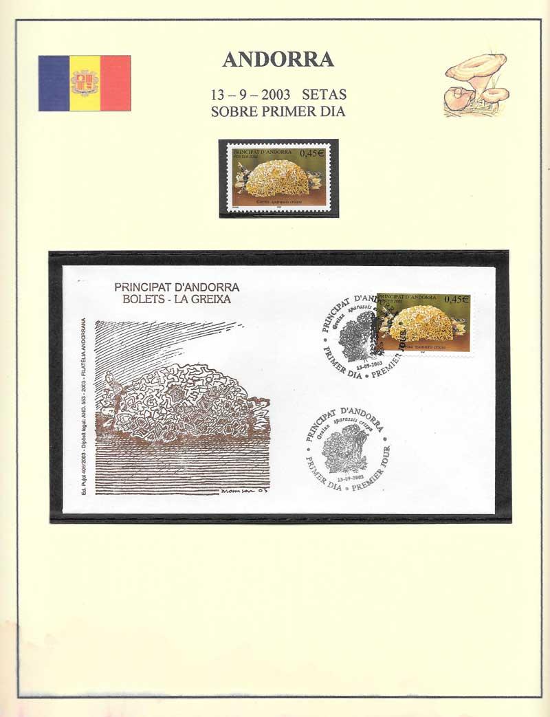 Andorra setas - sobre y sellos