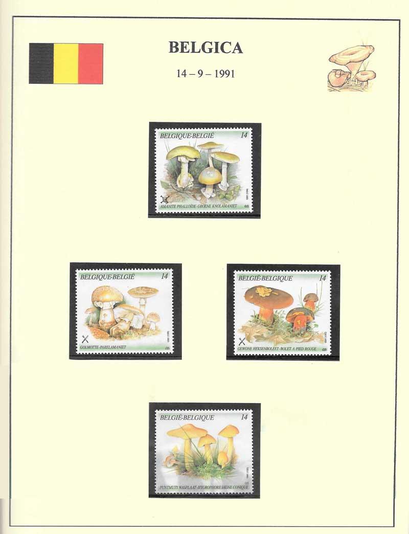 Sellos setas Belgica coleccionista