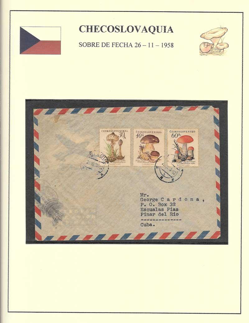 sobre circulado de 1958 de Checoslovaquia