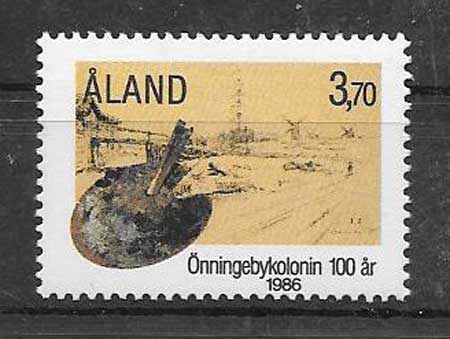 Coleccionismo sellos artistas Aland 1986