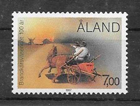 Colección sellos Bomberos Aland 1987