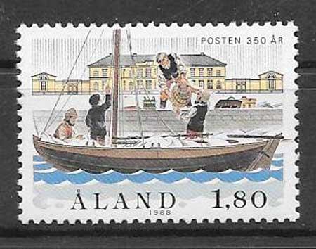 Estampillas correos Aland 1988