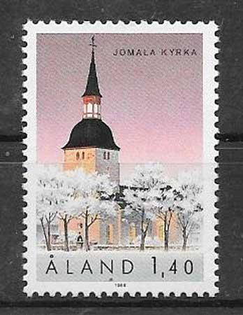 Estampillas iglesia Aland 1988