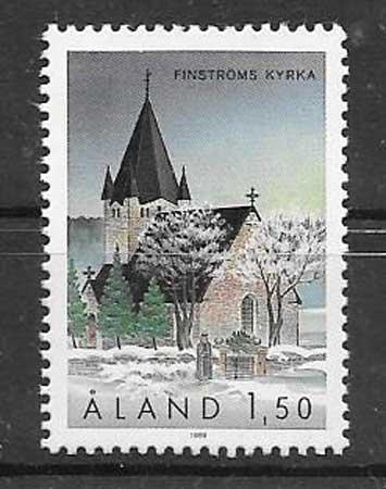 Estampillas iglesia Aland 1989