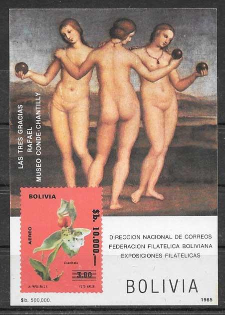 Estampillas Bolivia arte 1980