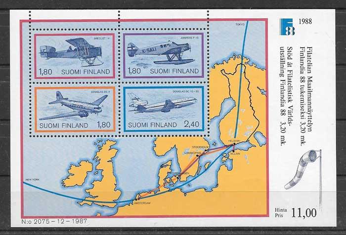 Sellos Finlandia 1988 transporte
