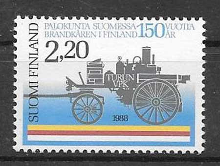 Filatelia Bomberos Finlandia 1988