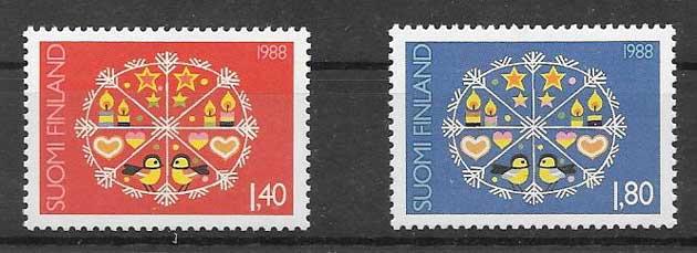 Sellos navidad Finlandia 1988