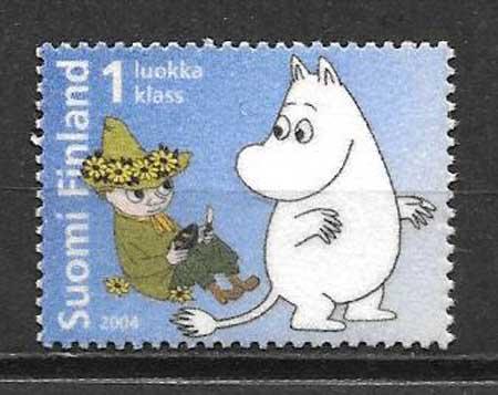 Sellos colección Finlandia 2004 cómic
