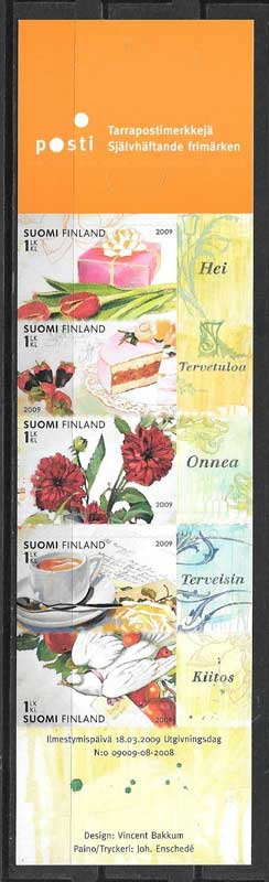 Sellos filatelia flores Finlandia 2009