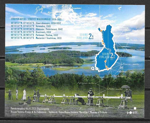 Filatelia arco geódesico Finlandia 2011