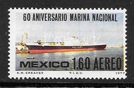 sellos México 1977 Aniversario Marina