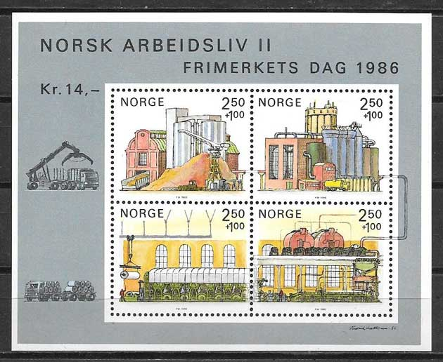 Filatelia día del timbre Noruega 1986
