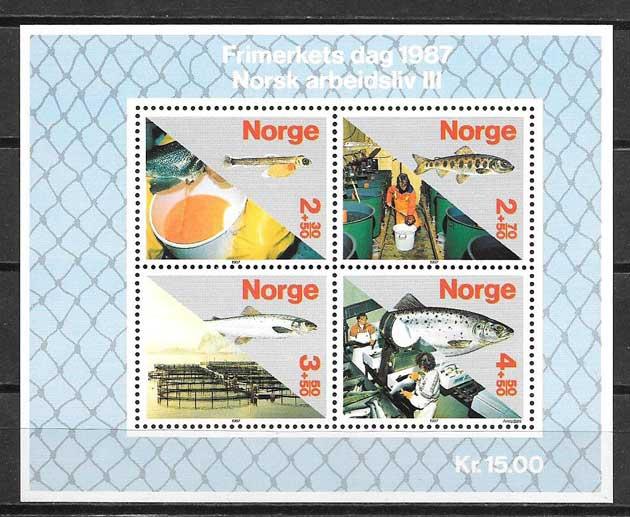 Filatelia día del sello Noruega 1987