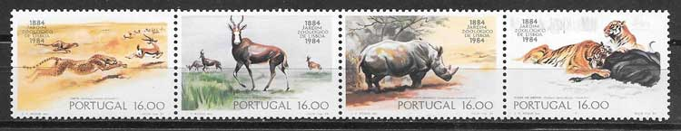 Sellos animales Zoo Portugal 1984