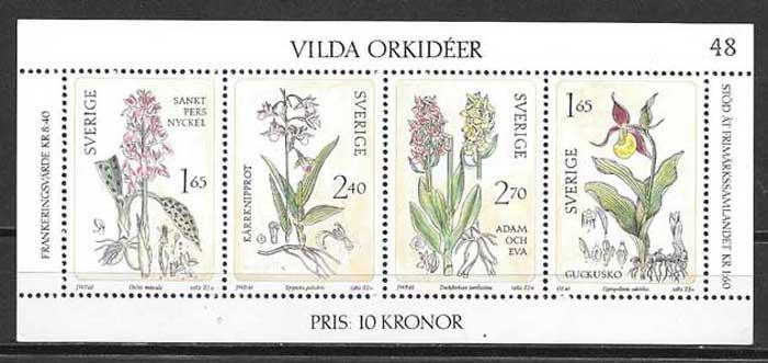 sellos Orquídeas Suecia 1982