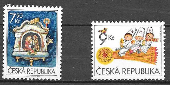sellos colección navidad Chequia 2005