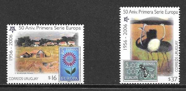 Estampillas Tema Europa Uruguay 2005
