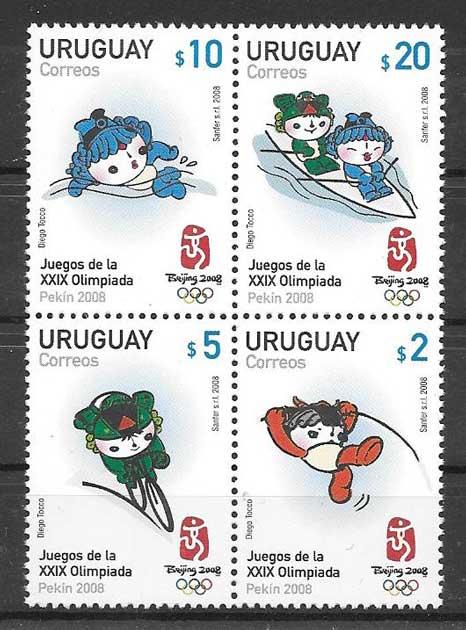 Estampillas olimpiadas Uruguay 2008
