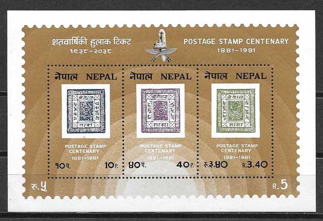 Filatelia Centenario del sello Nepal 1981