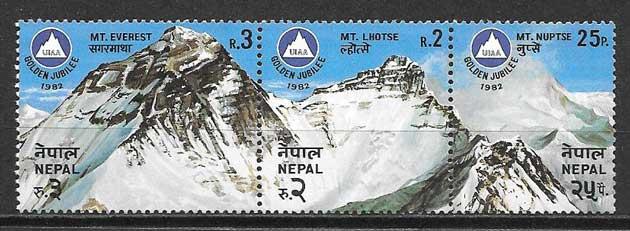 Filatelia montañas Nepal 1982