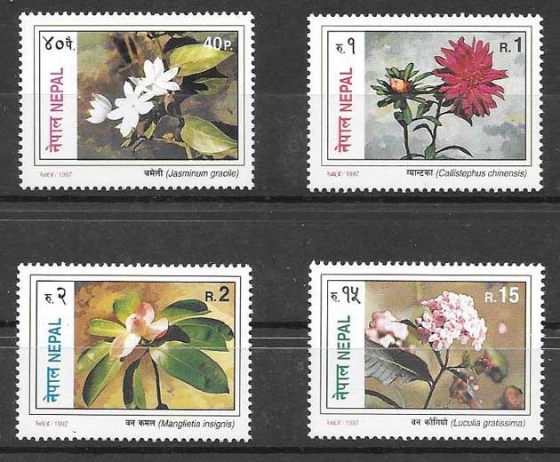 Estampillas flores Nepal 1997