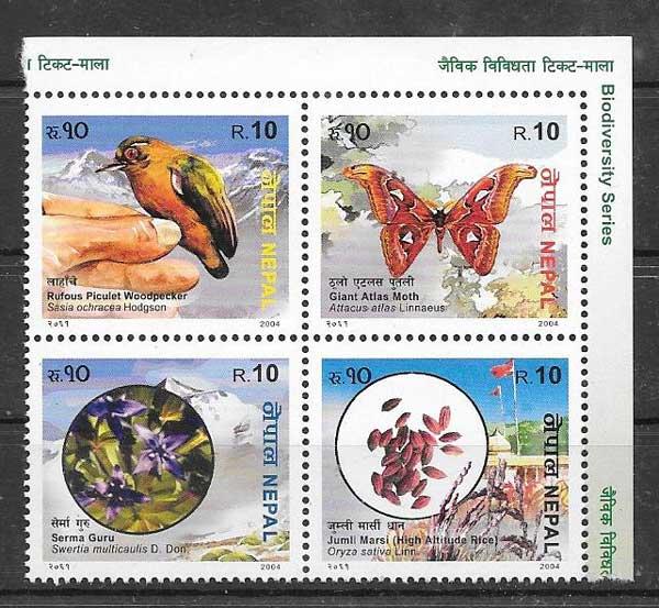Colección sellos fauna y flora Nepal 2005