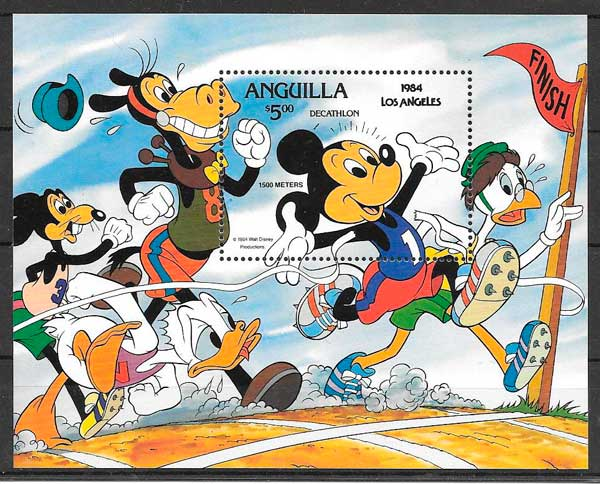 sellos Disney Anguilla 1984