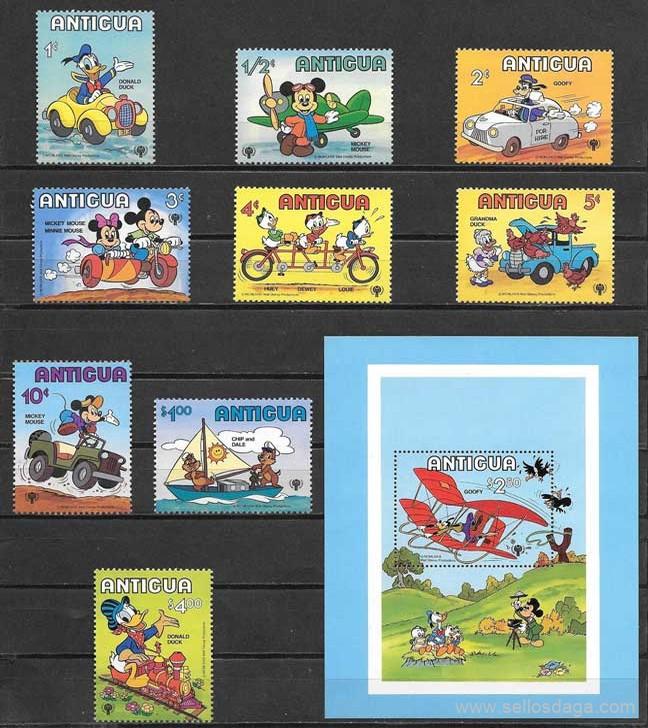 sellos FDisney Antigua 1980