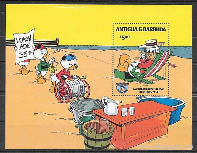 sellos Disney Antigua y Barbuda 1985