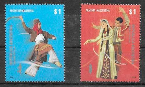 sellos emisiones conjunta Argentina 2008
