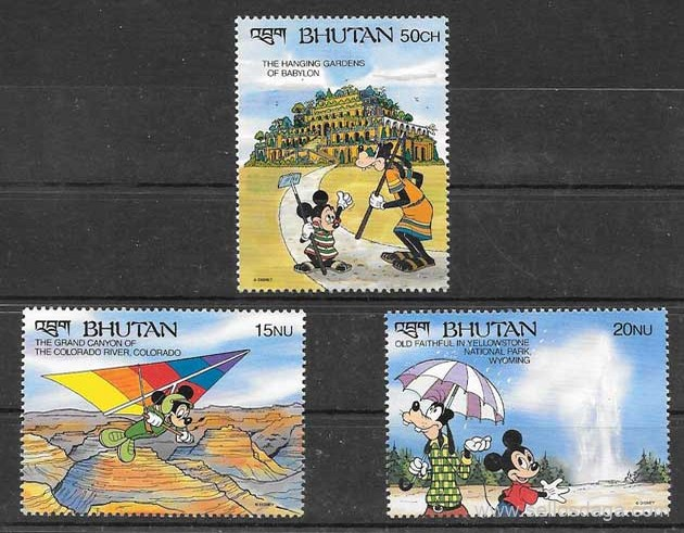 sellos colección Disney Bhutan 1982