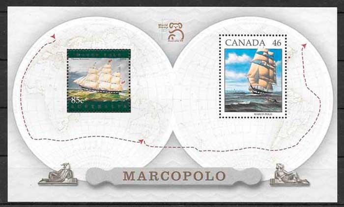 sellos emisiones conjunta Canadá 1999
