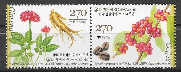 Filatelia Emisiones Conjunta Corea del Sur 2012