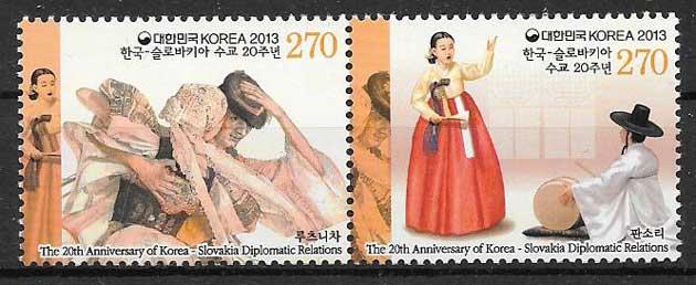 colección sellos emisiones Conjunta Corea del Sur 2013