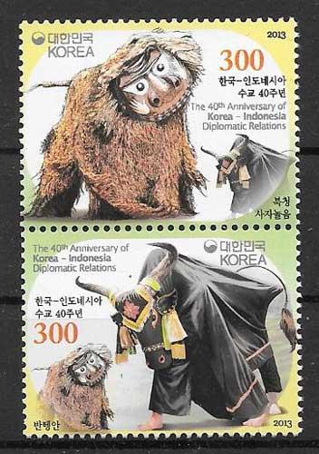sellos filatelia emisiones conjunta Corea del sur 2013