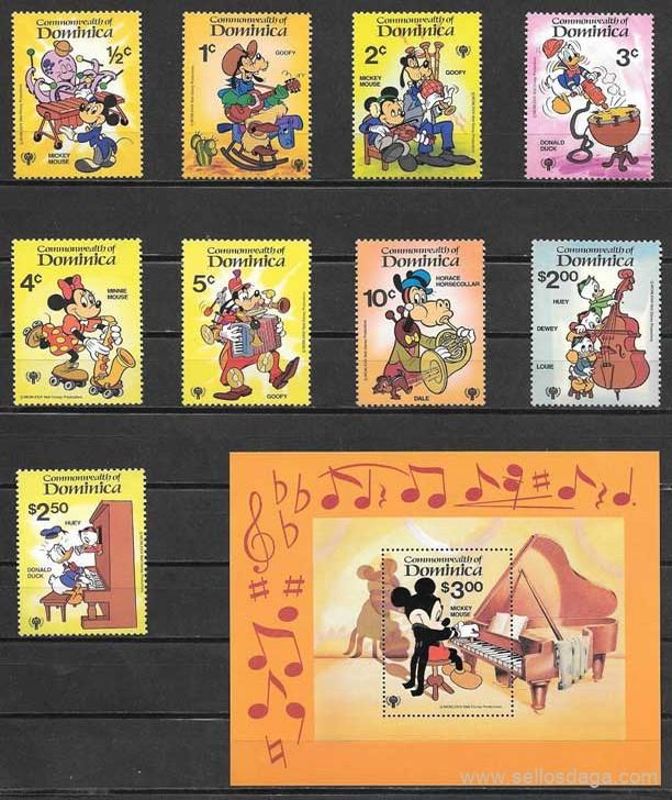 sellos colección Disney Dominica 1979