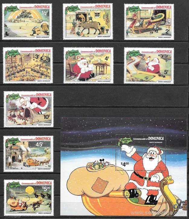 sellos colección Disney Dominica 1981
