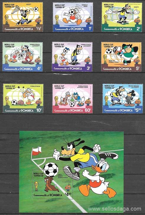 colección sellos Dominica 1982 Disney
