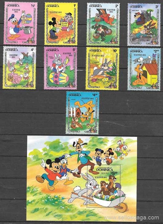 colección sellos Disney Dominica 1984