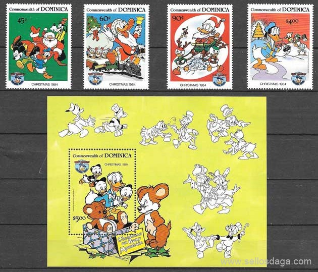 colección sellos Disney 1984 Dominica