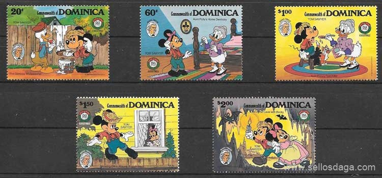 sellos Disney Dominica 1985