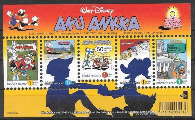 Filateloia Disney Finlandia 2001