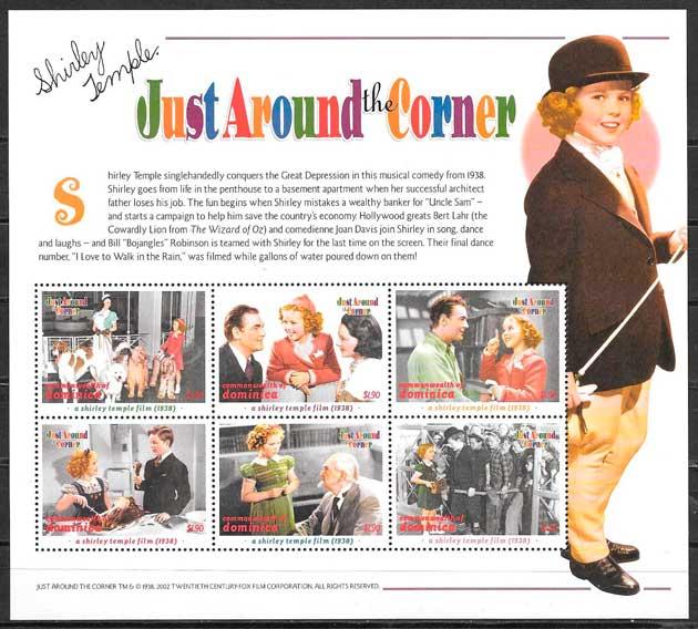 colección sellos cine Dominica 2002