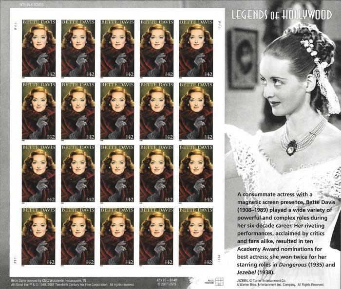 colección sellos Leyendas de Hollywood USA 2008