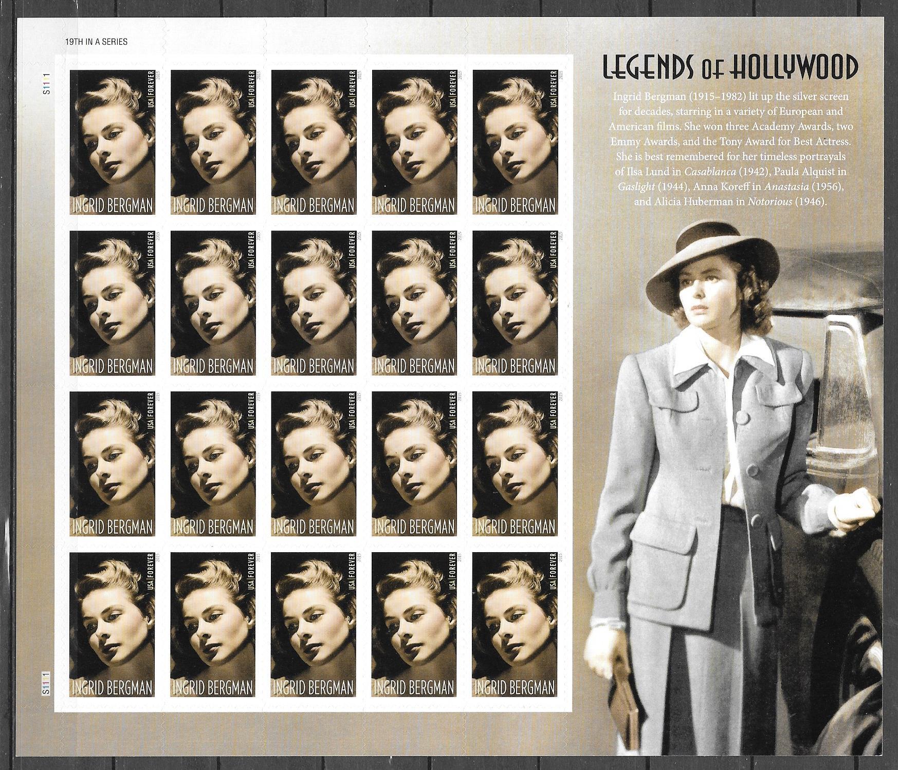 colección sellos Leyendasw de Hollywood EE:UU 2015