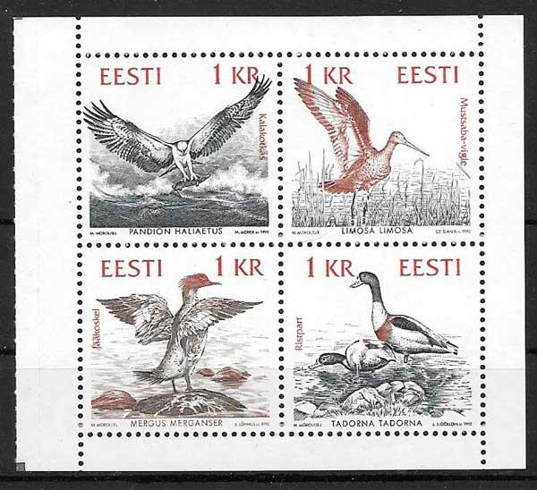 sellos Estonia Emisión Conjunta 1992