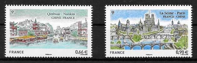 sellos colección Emisión Conjunta Francia 2014