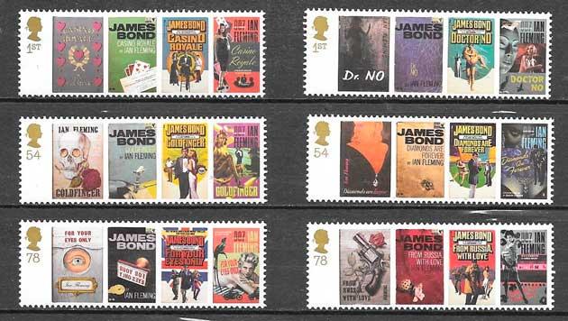 sellos colección cine Gran Bretaña 2008